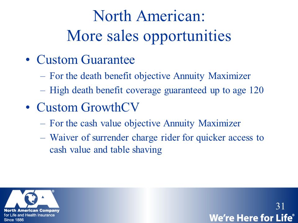 31 North American: More sales opportunities Custom Guarantee –For the death benefit objective Annuity Maximizer –High death benefit coverage guarantee