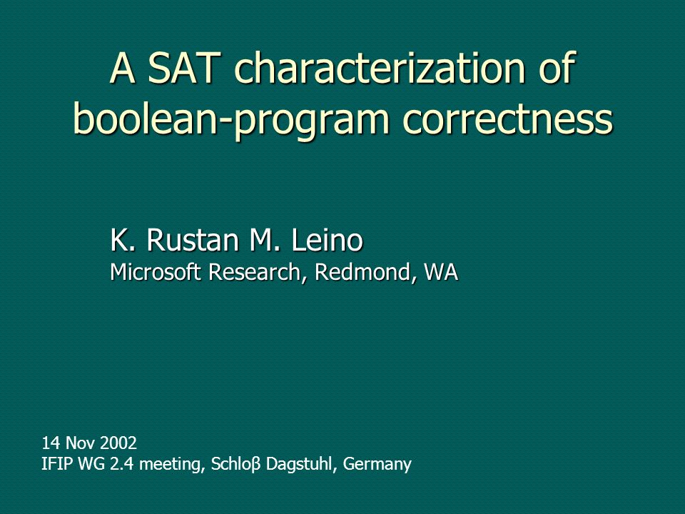 A SAT characterization of boolean-program correctness K.