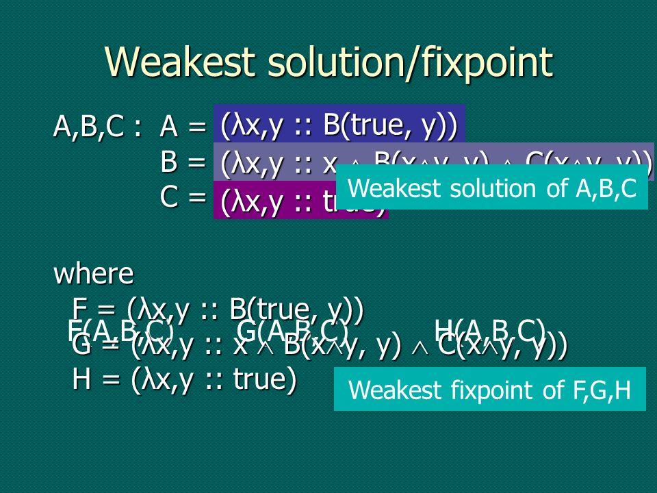 F(A,B,C)G(A,B,C)H(A,B,C) A,B,C :A = F(A,B,C) B = G(A,B,C) C = H(A,B,C) where F = (λx,y :: B(true, y)) G = (λx,y :: x B(x y, y) C(x y, y)) H = (λx,y ::
