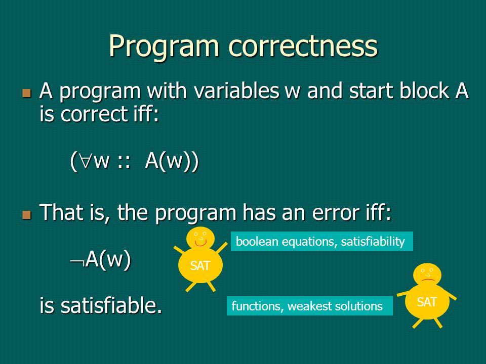 Program correctness A program with variables w and start block A is correct iff: ( w :: A(w)) A program with variables w and start block A is correct