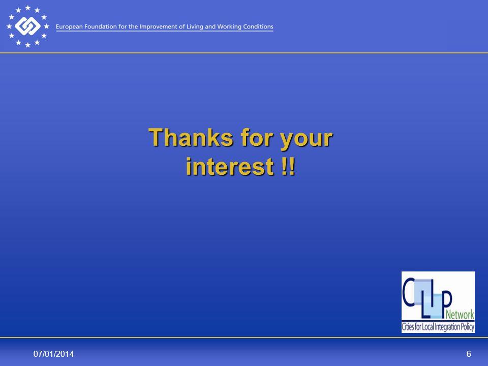 607/01/2014 Thanks for your interest !! Thanks for your interest !!