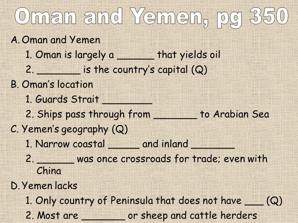 A.Oman and Yemen 1. Oman is largely a ______ that yields oil 2. _______ is the countrys capital (Q) B.Omans location 1. Guards Strait ________ 2. Ship