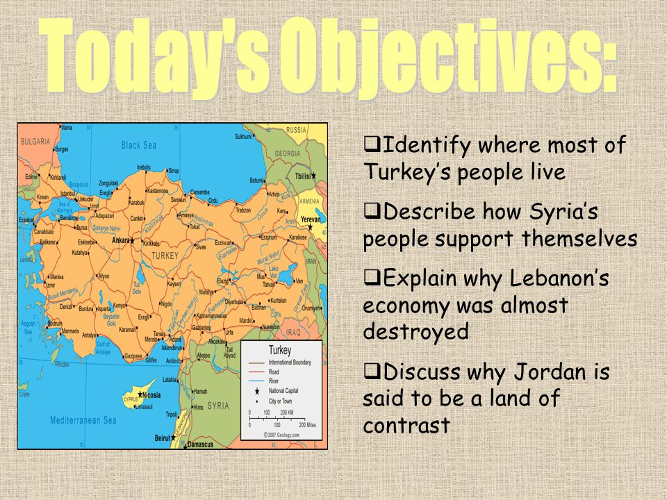 Identify where most of Turkeys people live Describe how Syrias people support themselves Explain why Lebanons economy was almost destroyed Discuss why