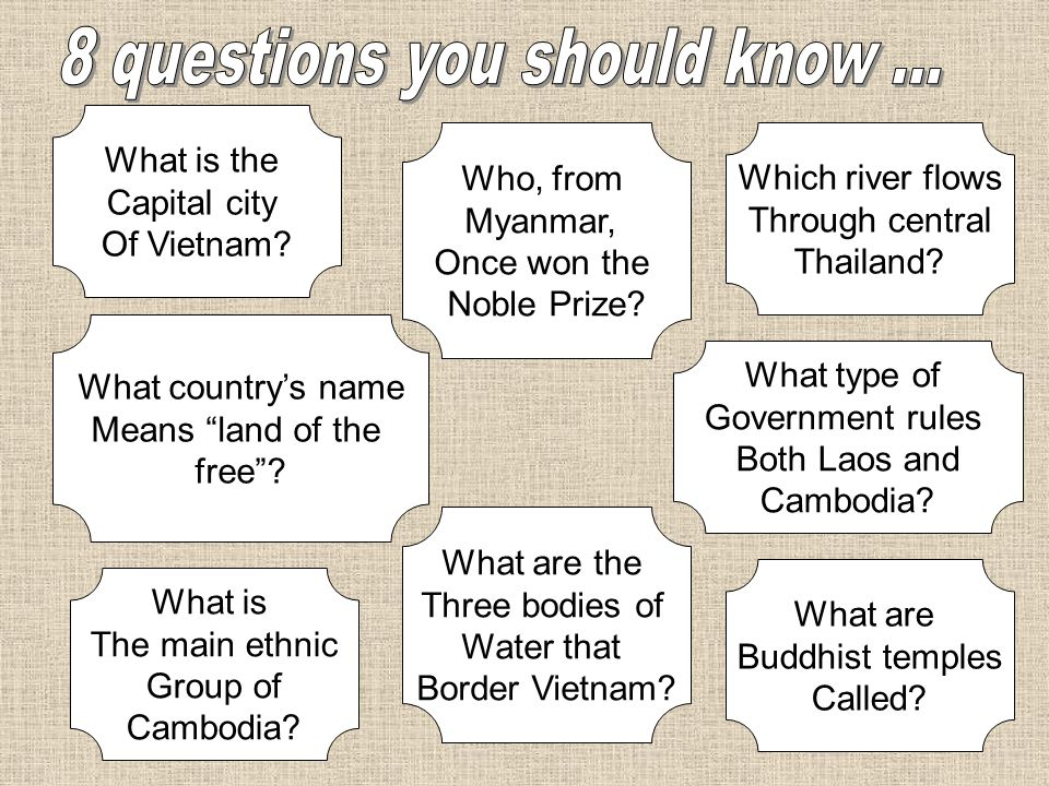 What is the Capital city Of Vietnam? What countrys name Means land of the free? What is The main ethnic Group of Cambodia? Which river flows Through c