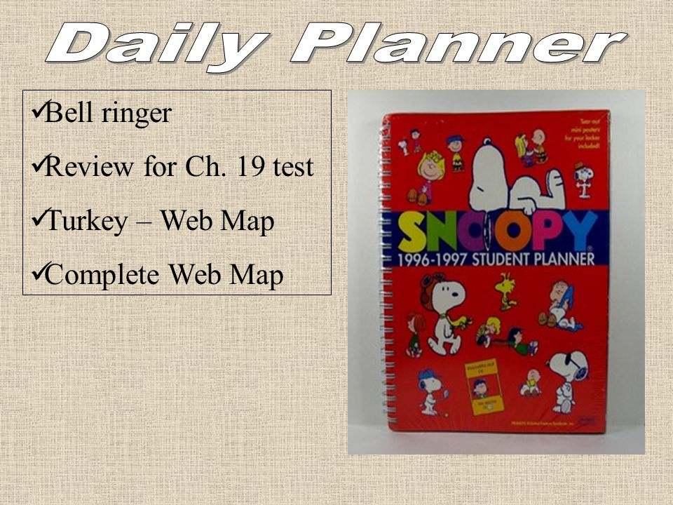 Bell ringer Review for Ch. 19 test Turkey – Web Map Complete Web Map