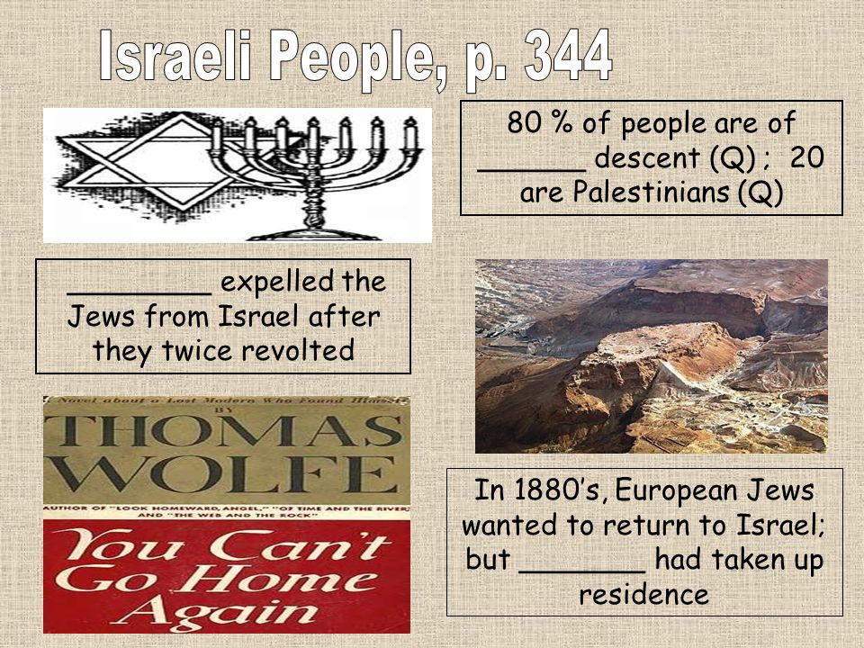 80 % of people are of ______ descent (Q) ; 20 are Palestinians (Q) ________ expelled the Jews from Israel after they twice revolted In 1880s, European