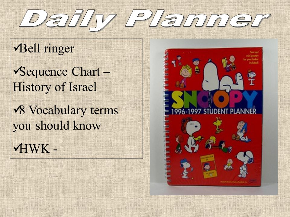 Bell ringer Sequence Chart – History of Israel 8 Vocabulary terms you should know HWK -