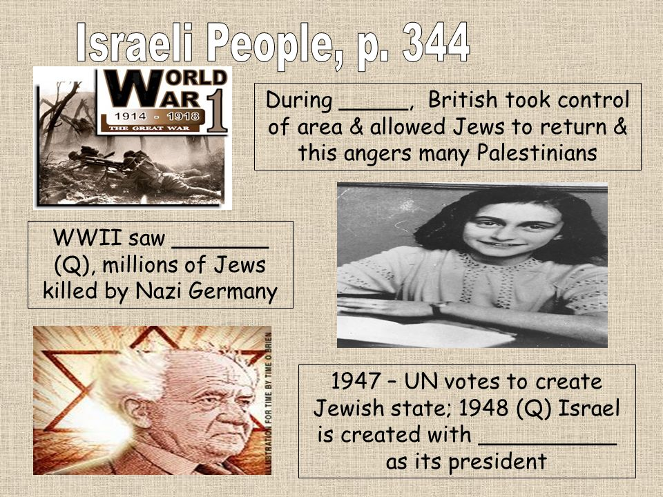 During _____, British took control of area & allowed Jews to return & this angers many Palestinians WWII saw _______ (Q), millions of Jews killed by N