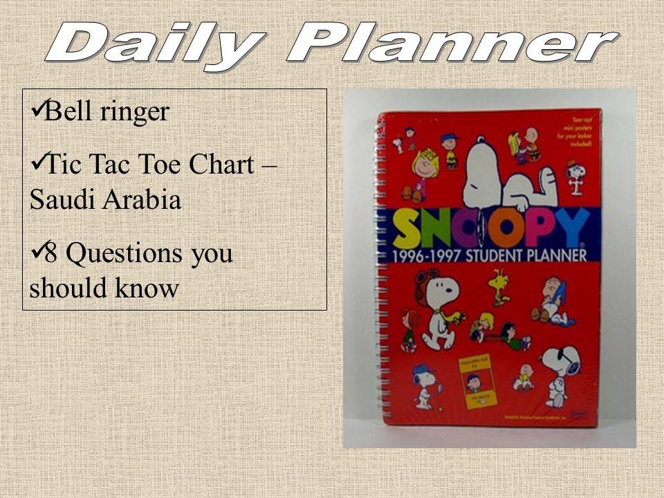 Bell ringer Tic Tac Toe Chart – Saudi Arabia 8 Questions you should know