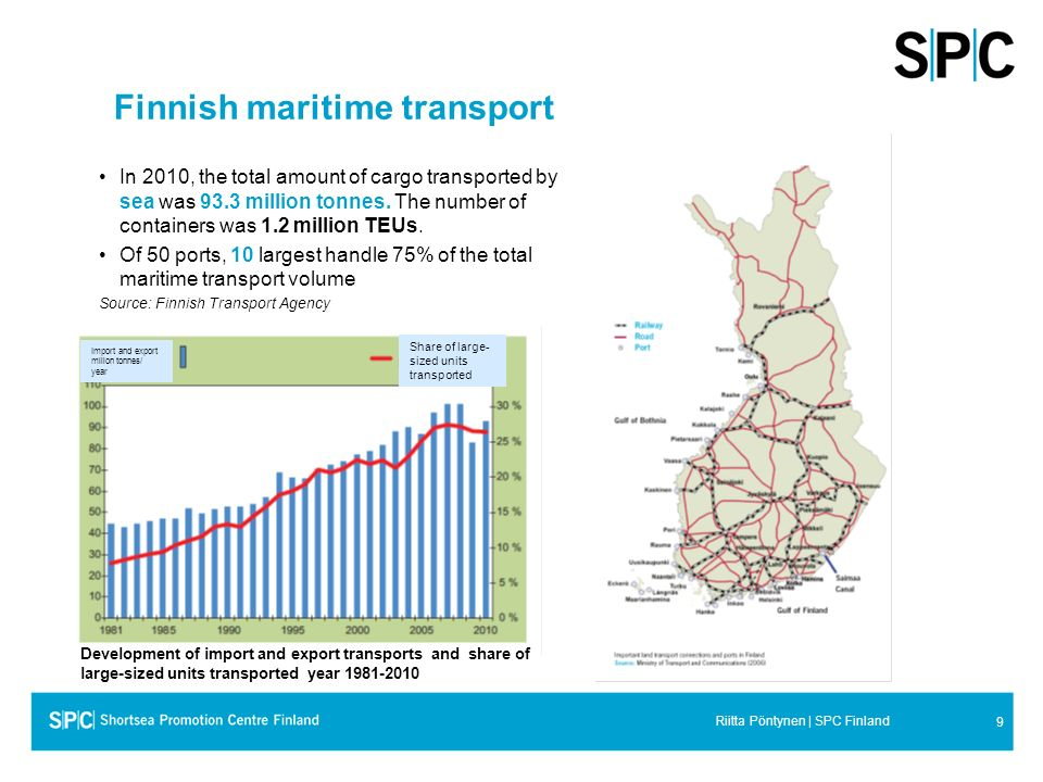 9 Riitta Pöntynen | SPC Finland Finnish maritime transport In 2010, the total amount of cargo transported by sea was 93.3 million tonnes. The number o