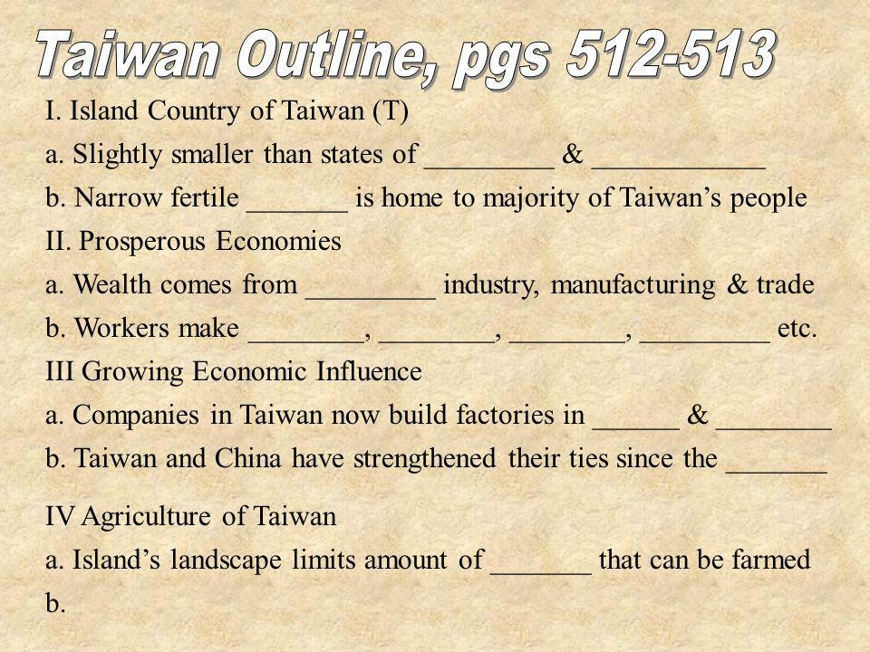 I. Island Country of Taiwan (T) a. Slightly smaller than states of _________ & ____________ b. Narrow fertile _______ is home to majority of Taiwans p