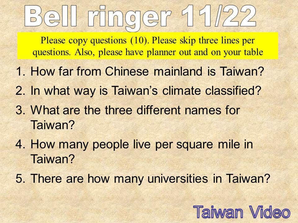 1.How far from Chinese mainland is Taiwan? 2.In what way is Taiwans climate classified? 3.What are the three different names for Taiwan? 4.How many pe