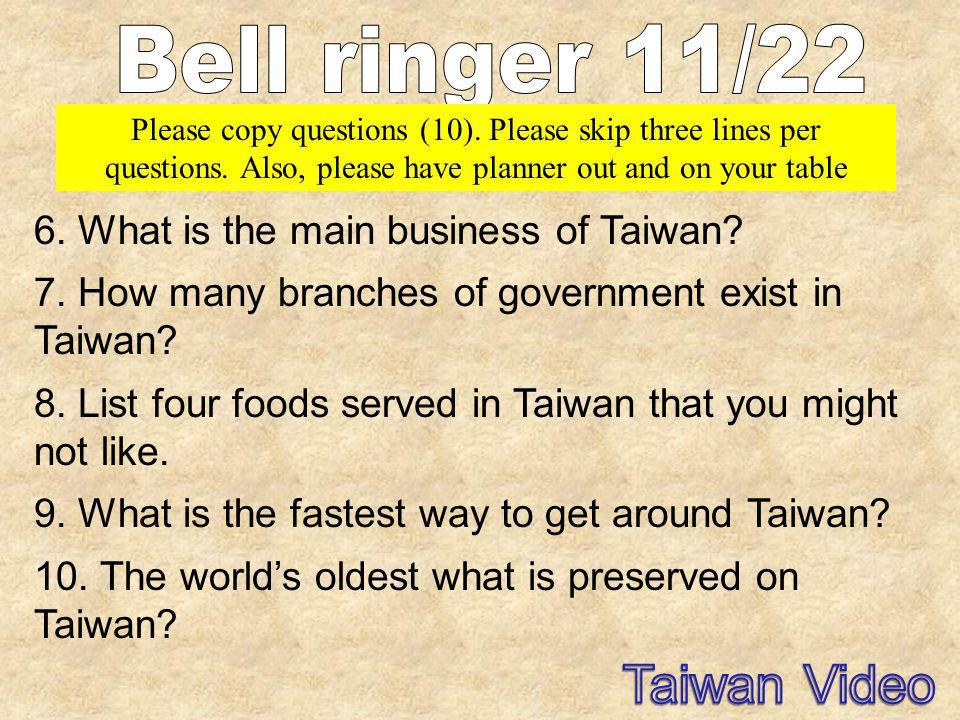 6. What is the main business of Taiwan? 7. How many branches of government exist in Taiwan? 8. List four foods served in Taiwan that you might not lik