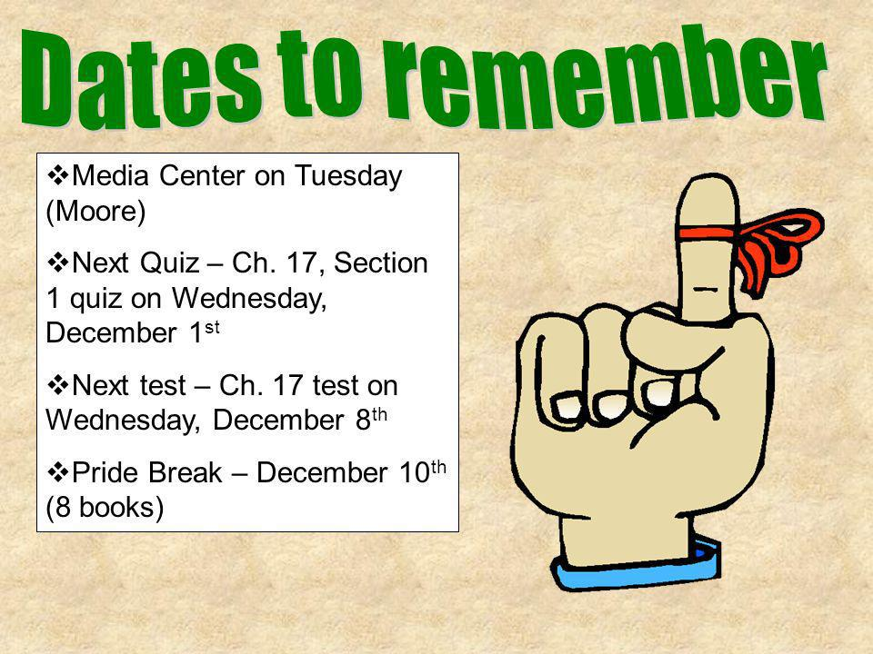 Media Center on Tuesday (Moore) Next Quiz – Ch. 17, Section 1 quiz on Wednesday, December 1 st Next test – Ch. 17 test on Wednesday, December 8 th Pri