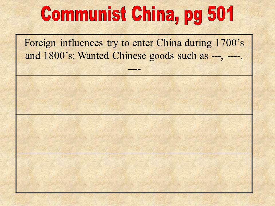 Foreign influences try to enter China during 1700s and 1800s; Wanted Chinese goods such as ---, ----, ----