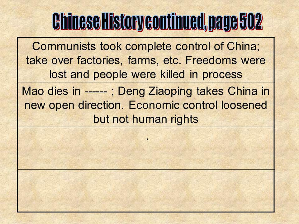 Communists took complete control of China; take over factories, farms, etc. Freedoms were lost and people were killed in process Mao dies in ------ ;