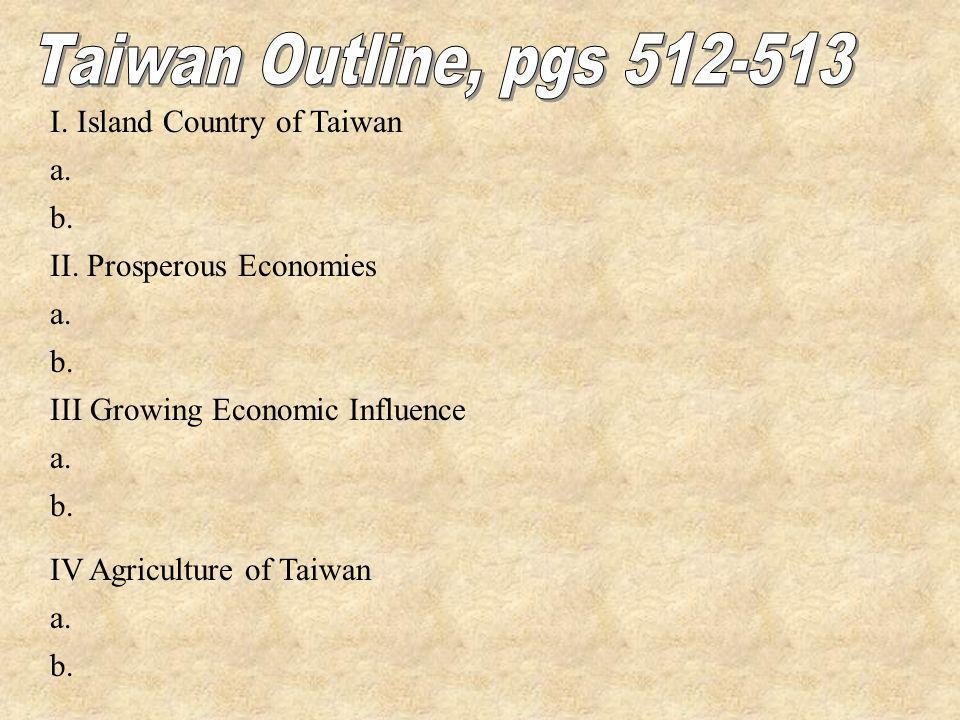 I. Island Country of Taiwan a. b. II. Prosperous Economies a. b. III Growing Economic Influence a. b. IV Agriculture of Taiwan a. b.