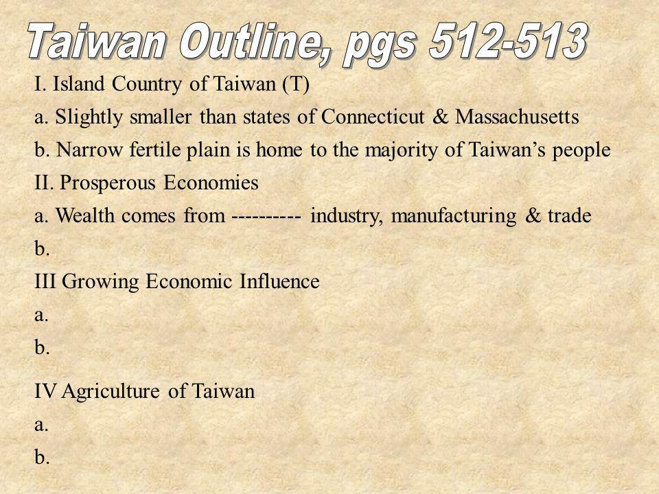 I. Island Country of Taiwan (T) a. Slightly smaller than states of Connecticut & Massachusetts b. Narrow fertile plain is home to the majority of Taiw