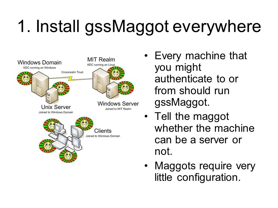 1. Install gssMaggot everywhere Every machine that you might authenticate to or from should run gssMaggot. Tell the maggot whether the machine can be