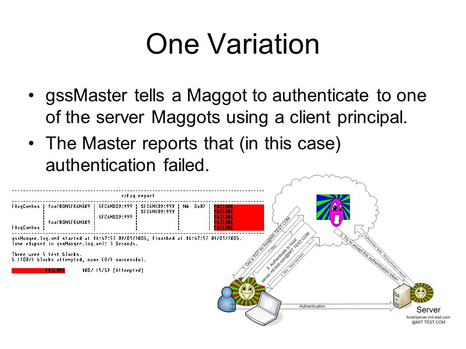 One Variation gssMaster tells a Maggot to authenticate to one of the server Maggots using a client principal. The Master reports that (in this case) a