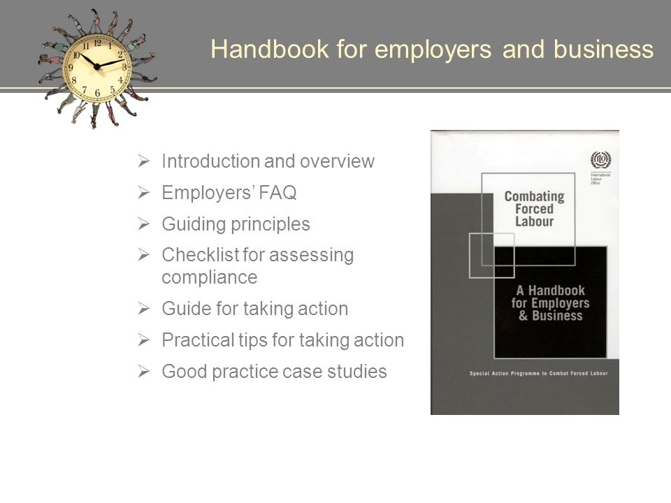 Handbook for employers and business Introduction and overview Employers FAQ Guiding principles Checklist for assessing compliance Guide for taking action Practical tips for taking action Good practice case studies