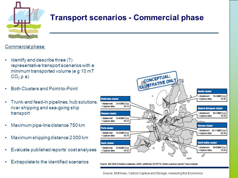 Transport scenarios - Commercial phase Commercial phase: Identify and describe three ( ) representative transport scenarios with a minimum transported volume (e g 10 mT CO 2 p a) Both Clusters and Point-to-Point Trunk-and feed-in pipelines, hub solutions, river shipping and sea-going ship transport Maximum pipe-line distance 750 km Maximum shipping distance 2 000 km Evaluate published reports cost analyses Extrapolate to the identified scenarios Source: McKinsey, Carbon Capture and Storage: Assessing the Economics