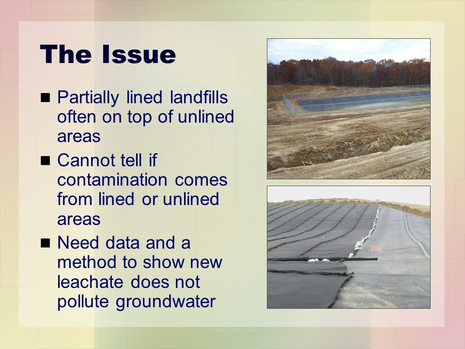 The Issue Partially lined landfills often on top of unlined areas Cannot tell if contamination comes from lined or unlined areas Need data and a method to show new leachate does not pollute groundwater
