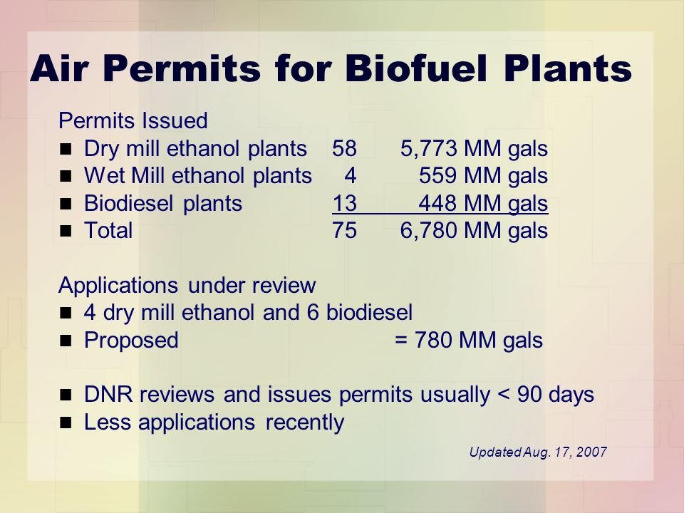 Air Permits for Biofuel Plants Permits Issued Dry mill ethanol plants 585,773 MM gals Wet Mill ethanol plants 4 559 MM gals Biodiesel plants13 448 MM gals Total756,780 MM gals Applications under review 4 dry mill ethanol and 6 biodiesel Proposed = 780 MM gals DNR reviews and issues permits usually < 90 days Less applications recently Updated Aug.