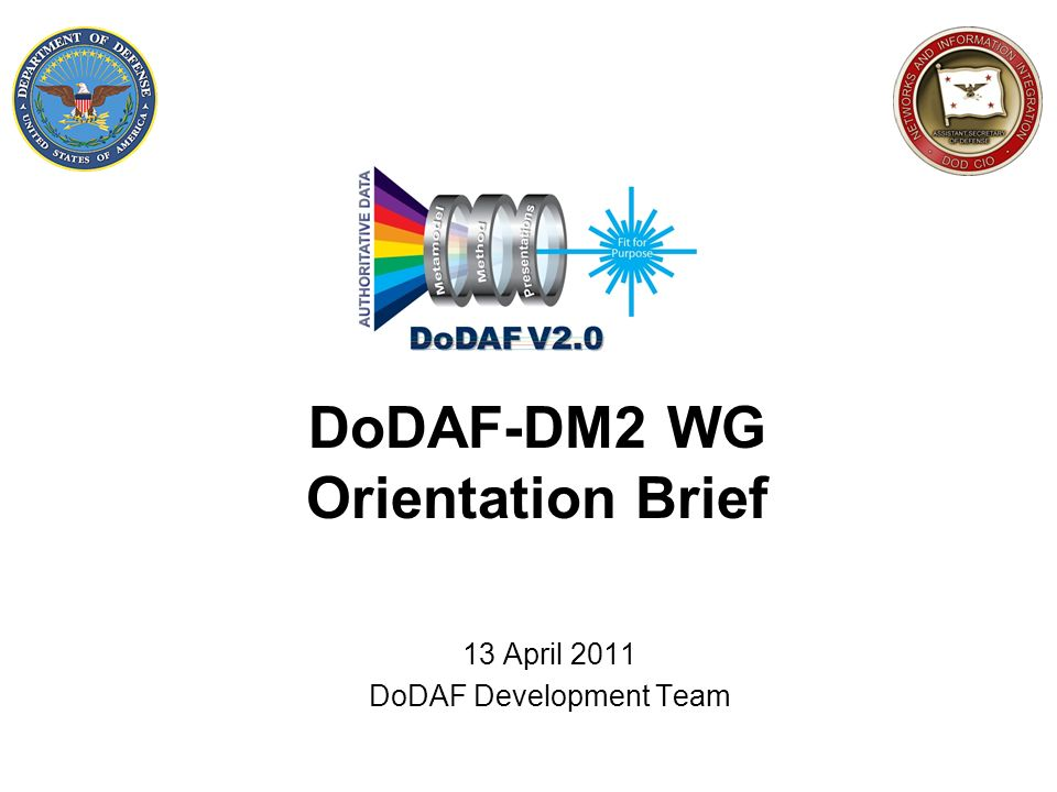 12 DoDAF-DM2 WG history DoDAF 2.0 development in 2008-2009 was done via 3 technical working groups: 1.Presentation 2.Methods 3.Data Data TWG methodology during DoDAF 2.0 development –Top-down from DoDs six core processes and their information requirements collected as part of the requirements workshops –Bottoms-up from ~ two dozen existing data models –Business rules enabled great success – DM2 has only ~ 250 pieces compared to predecessor CADMs ~ 16,000 DoDAF 2.0 publication in May 2009 –Only Data TWG established a significant membership and meeting tempo and so it was a resource of opportunity to assume DoDAF configuration management recommendations