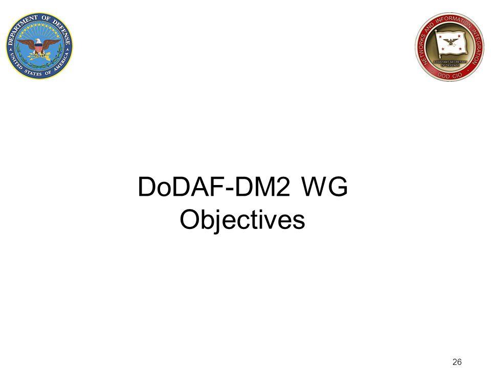 26 DoDAF-DM2 WG Objectives