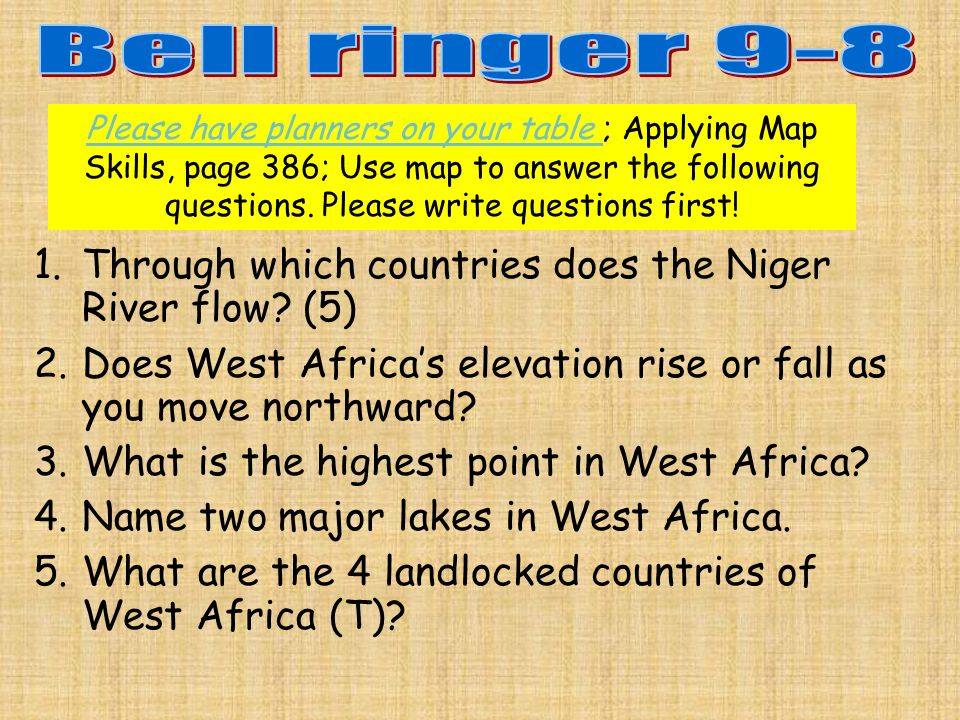 Please have planners on your table ; Applying Map Skills, page 386; Use map to answer the following questions.