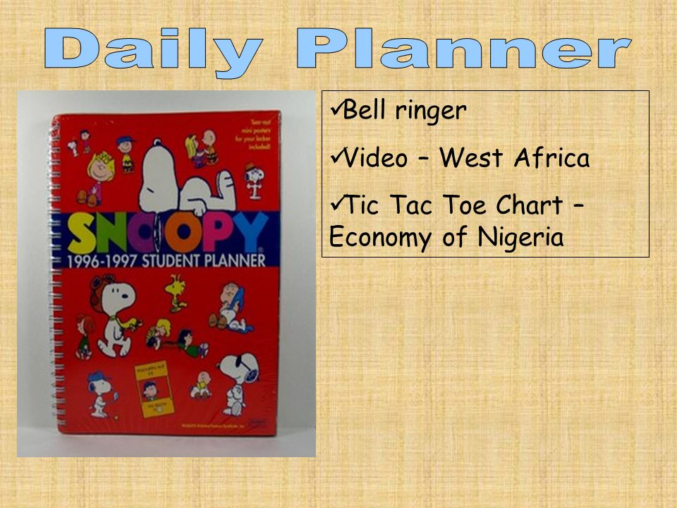 Bell ringer Video – West Africa Tic Tac Toe Chart – Economy of Nigeria