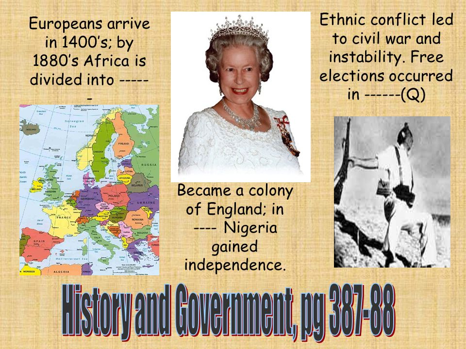 Europeans arrive in 1400s; by 1880s Africa is divided into Became a colony of England; in ---- Nigeria gained independence.