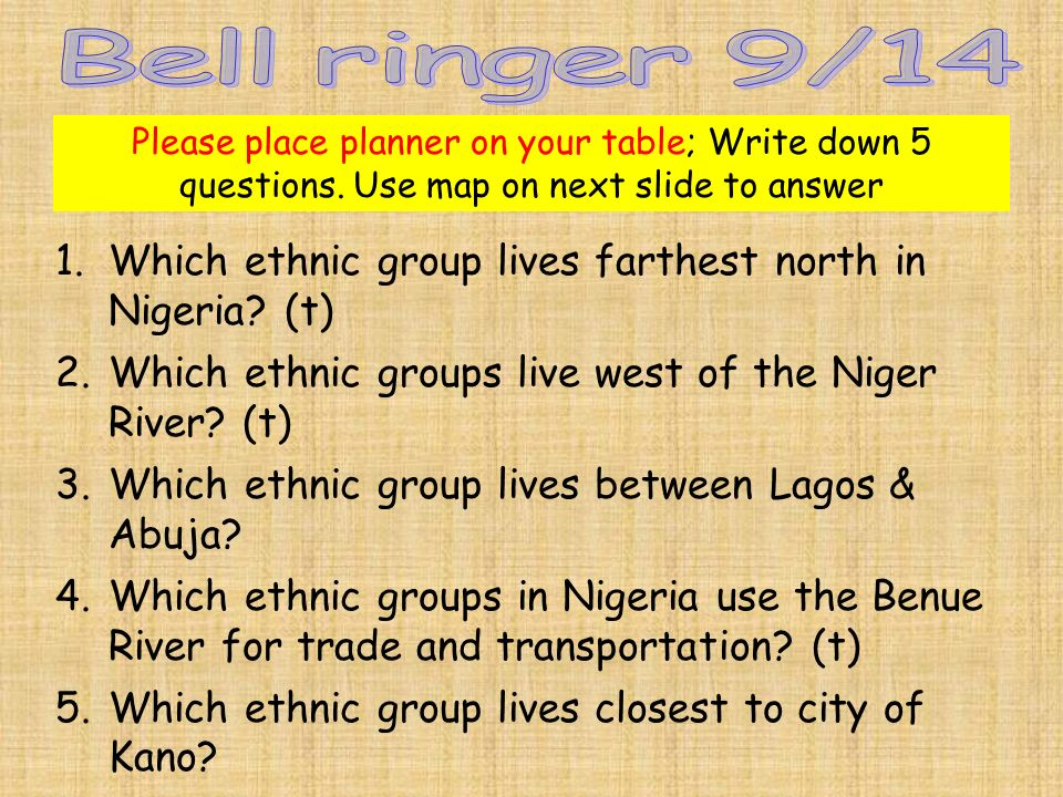 Please place planner on your table; Write down 5 questions.