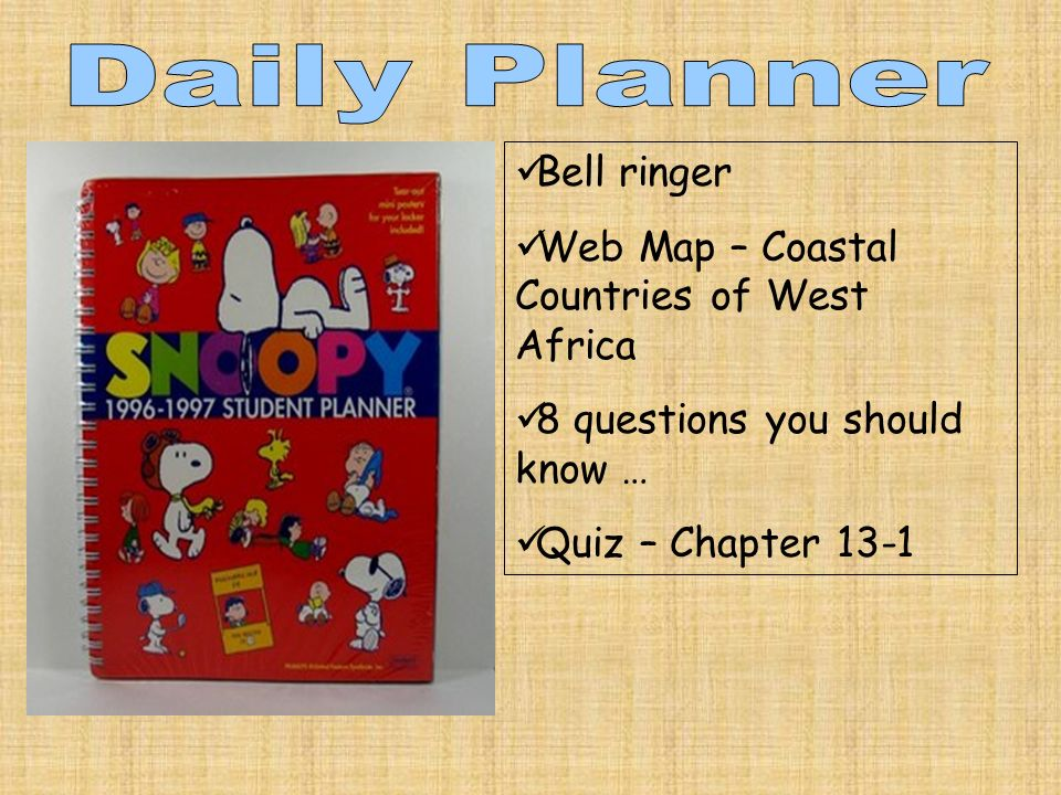 Bell ringer Web Map – Coastal Countries of West Africa 8 questions you should know … Quiz – Chapter 13-1