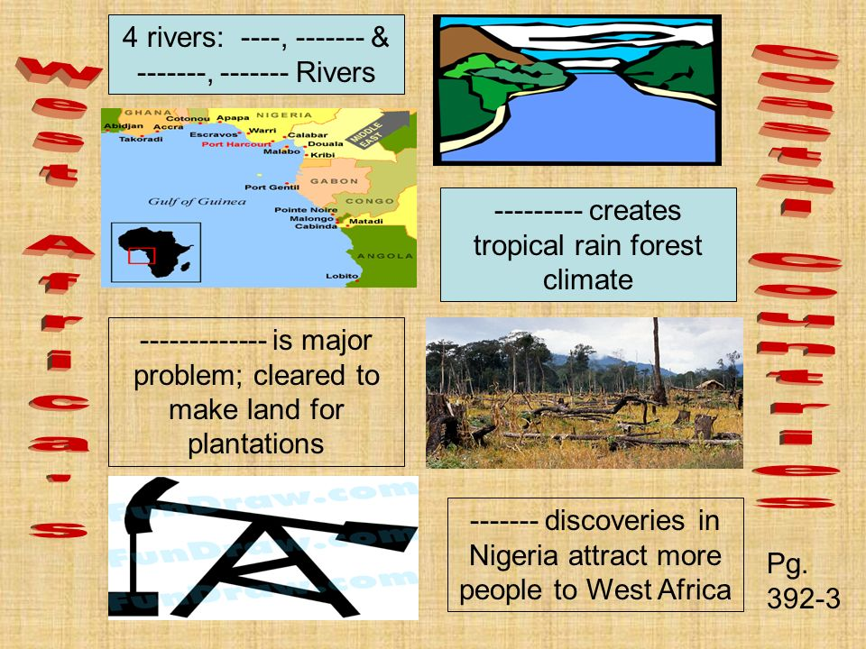4 rivers: ----, & , Rivers creates tropical rain forest climate is major problem; cleared to make land for plantations discoveries in Nigeria attract more people to West Africa Pg.