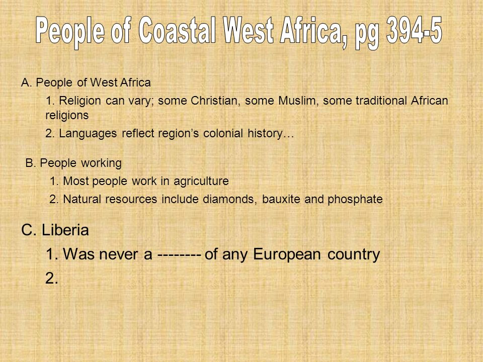 A. People of West Africa 1.
