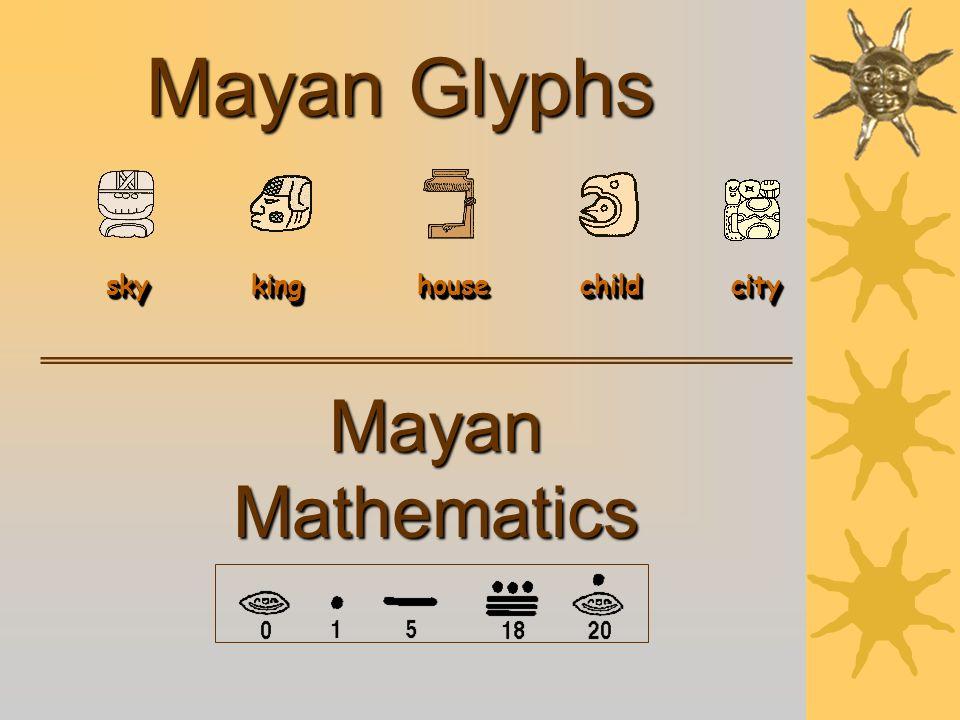 Mayan Glyphs Mayan Mathematics sky king house child city sky king house child city