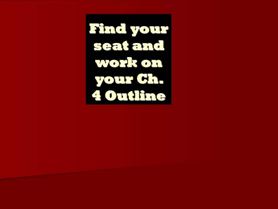 Find your seat and work on your Ch. 4 Outline