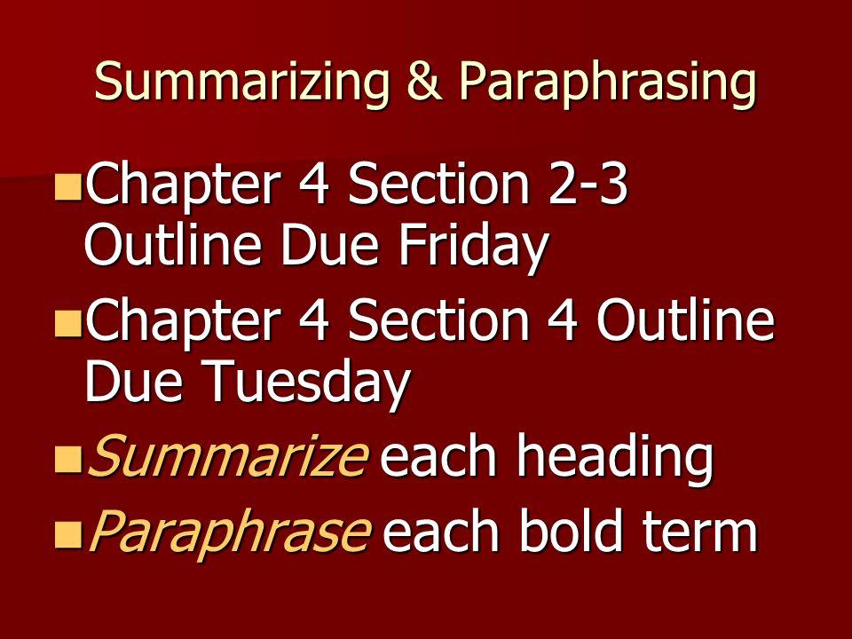 Summarizing & Paraphrasing Chapter 4 Section 2-3 Outline Due Friday Chapter 4 Section 2-3 Outline Due Friday Chapter 4 Section 4 Outline Due Tuesday C