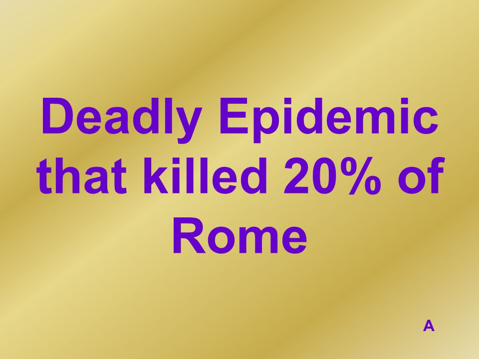 Deadly Epidemic that killed 20% of Rome A