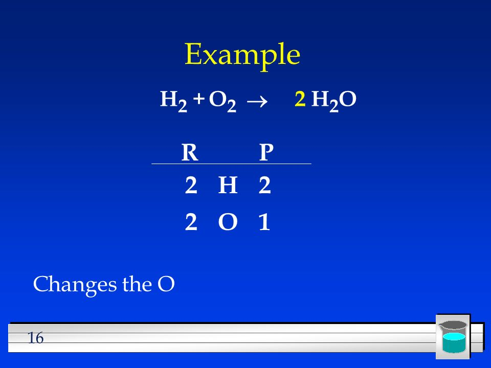 16 Example H 2 +H2OH2OO2O2 Changes the O RP H O 2 2 2 1 2