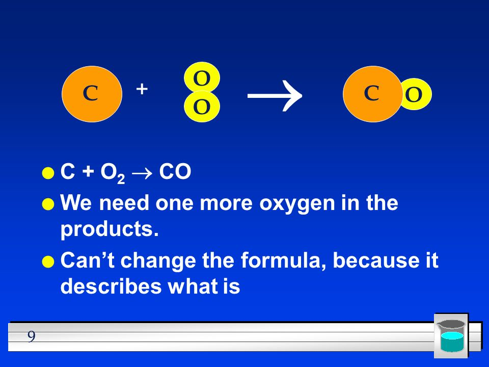 10 l Must be used to make another CO l But where did the other C come from? C + O C O O O C