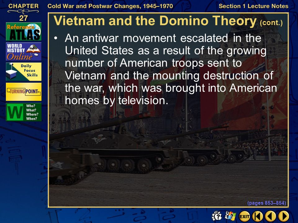 Section 1-29 Click the mouse button or press the Space Bar to display the information. Vietnam and the Domino Theory (pages 853–854) The Vietnam War h