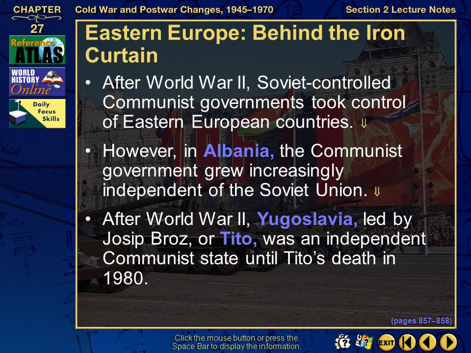 Section 2-13 Click the mouse button or press the Space Bar to display the information. The Khrushchev Era (cont.) He tried to increase the production