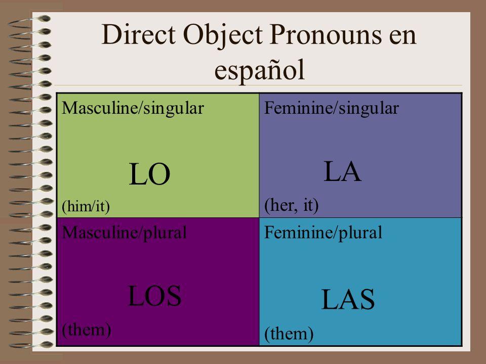 Direct Object Pronouns en español Masculine/singular LO (him/it) Feminine/singular LA (her, it) Masculine/plural LOS (them) Feminine/plural LAS (them)