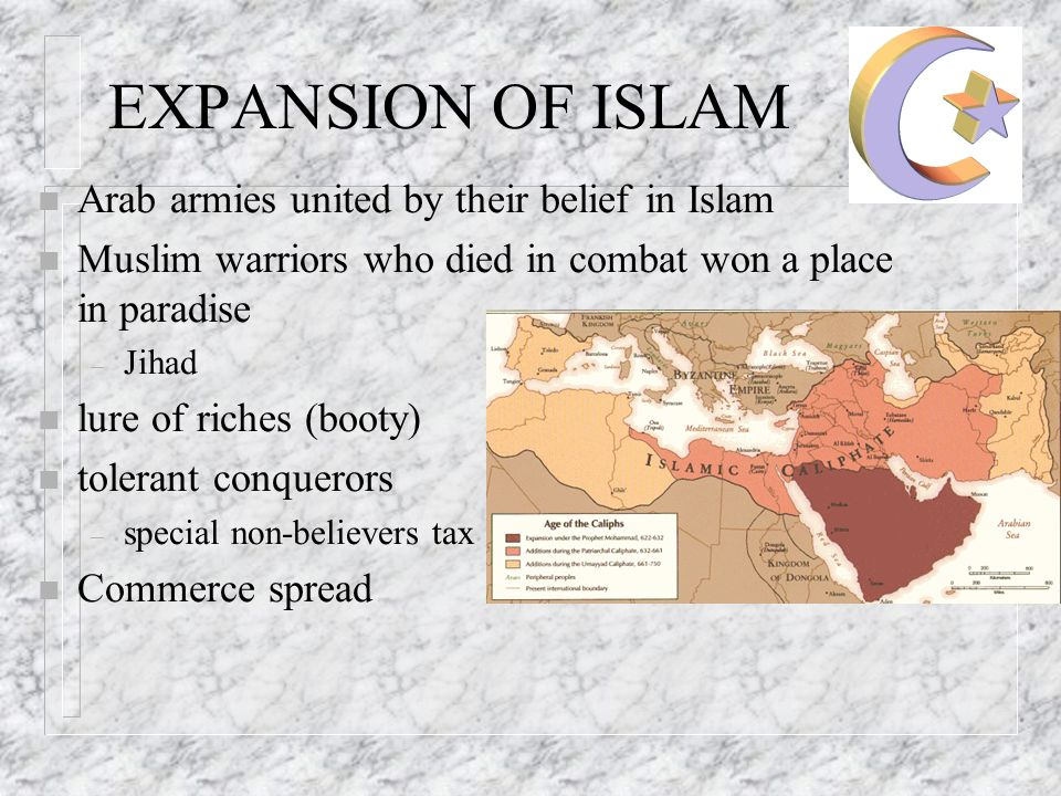 EXPANSION OF ISLAM n Arab armies united by their belief in Islam n Muslim warriors who died in combat won a place in paradise – Jihad n lure of riches