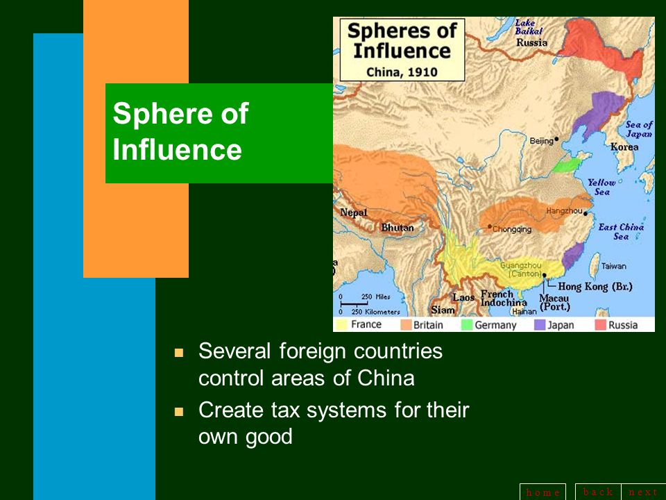 b a c kn e x t h o m e Sphere of Influence n Several foreign countries control areas of China n Create tax systems for their own good