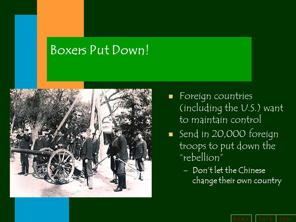 b a c kn e x t h o m e Boxers Put Down! n Foreign countries (including the U.S.) want to maintain control n Send in 20,000 foreign troops to put down
