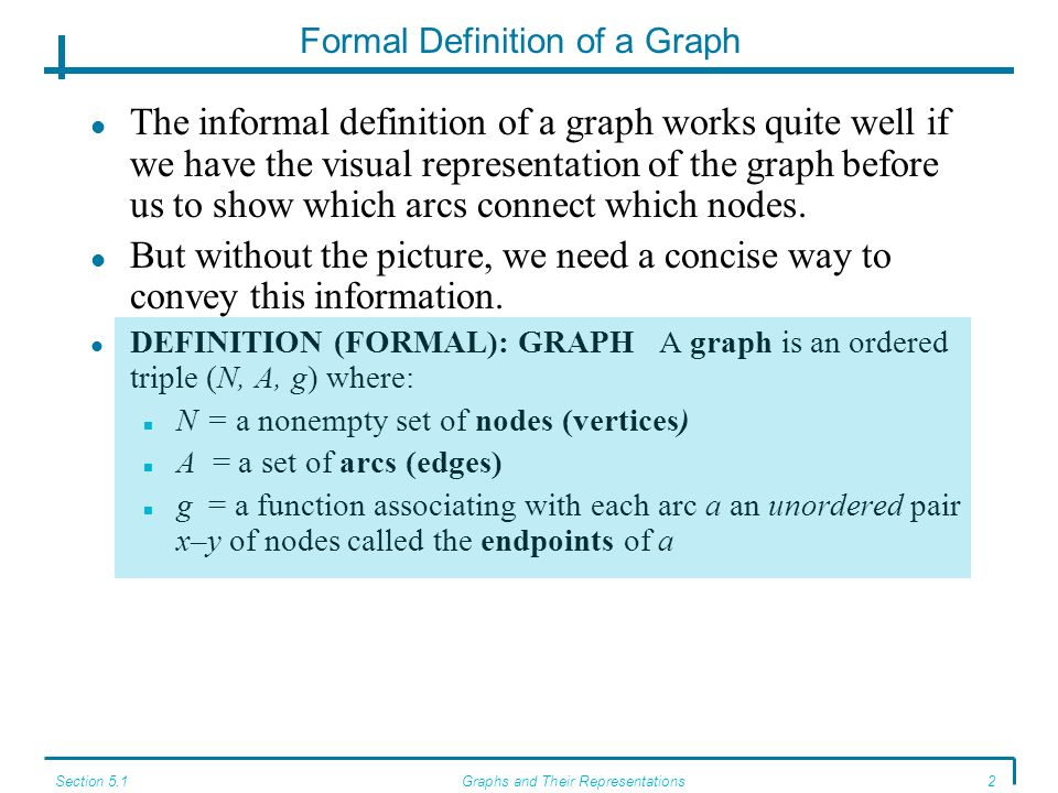 Section 5.1Graphs and Their Representations2 Formal Definition of a Graph The informal definition of a graph works quite well if we have the visual representation of the graph before us to show which arcs connect which nodes.